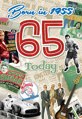 65th Male Birthday - 1955 Year You Were Born Card For Him With Facts - Age 65 • 2.95£