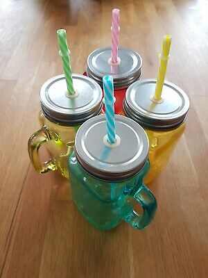 Vintage Style Glass Jar Mugs With Lids And Straws - Red, Green, Yellow, Blue • 15.99£