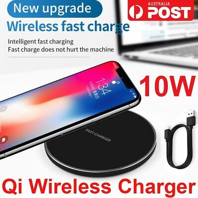 AU10.69 • Buy Qi Wireless Charger FAST Charging Pad Receiver For IPhone 11 XS XR 8 Samsung S9