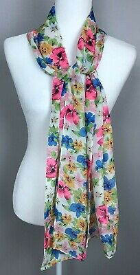 $9.99 • Buy Women's Floral Multi-Color Flowers Oblong Scarf 12.5 X 70 Pink Blue Yellow White