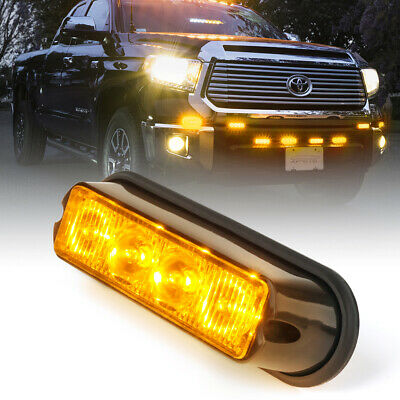 $11.94 • Buy Xprite Amber/Yellow 4 LED Side Marker Strobe Light Flashing Emergency Warning