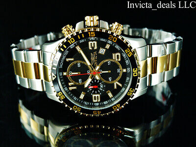 NEW Invicta Men's 45mm PILOT Specialty Chrono Black Dial 18K Gold 2Tone SS Watch • 58.51£
