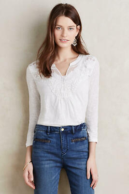 $ CDN36.73 • Buy Meadow & Rue Anthropologie XS Lace Yolk Ivory Linen Top Boho Embroidered Blouse