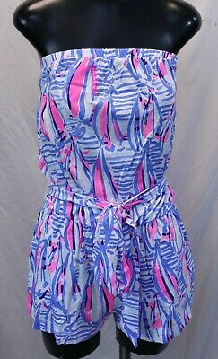 $84.99 • Buy Lilly Pulitzer Ritz Romper Blue Haven Pop Up Red Right Return MM1 Small NWT $98