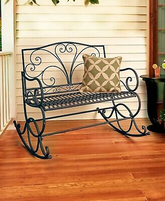 $165.87 • Buy Outdoor Metal Rocking Bench Porch Patio Deck Garden Furniture - Rust Brown