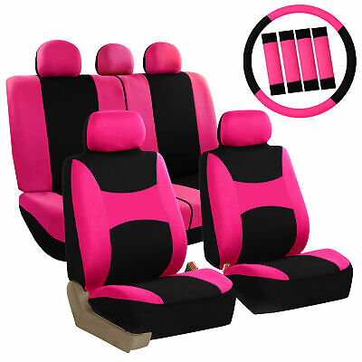 $26.99 • Buy FH Group Seat Covers For Car Truck SUV W/ Wheel Cover Belt Pads Pink 14 Pc Set