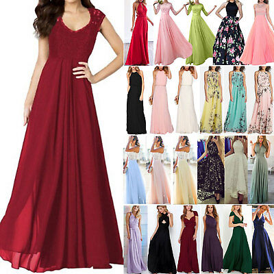 AU17.09 • Buy Women Formal Party Evening Chiffon Long Maxi Dress Cocktail Gown Prom Bridesmaid