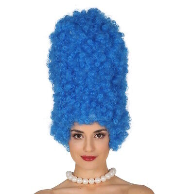 AU35.63 • Buy Blue Wig Cartoon Character Marge Simpson Fancy Dress Costume 90's Beehive Curly