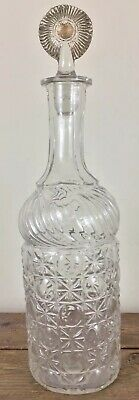 """$99 • Buy Antique Glass Decanter Bottle Blown In Mold With Tooled Lip Ca1880-1910 13"""" Tall"""