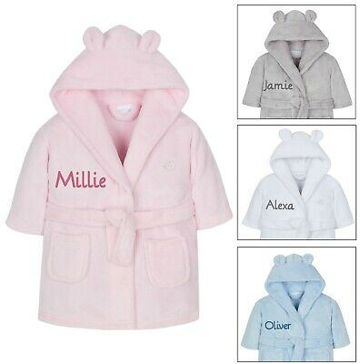 £15.99 • Buy Personalised Embroidered Baby Robe Dressing Gown Hood Toddler Baby Gift Boy Girl