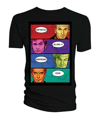 $21.95 • Buy Doctor Who Classic Mens T-Shirt 4 Doctors Catchphrases Comic Book