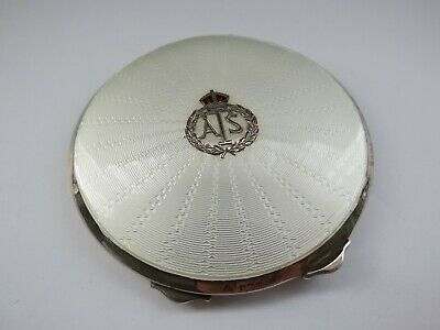 1938 Hallmark Silver & White Guilloche Enamel Powder Compact ATS Queens Regiment • 175£