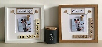 (d) Scrabble Art Picture Love Photo Frame - Couples Any Occasion Valentines Day • 24£