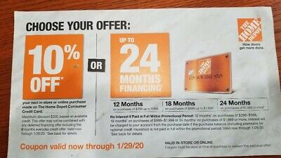 $3.25 • Buy Genuine Home Depot 10% OFF Or 0% Interest 24 Months! In Store Online Exp 1-29-20