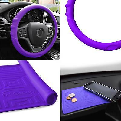 $15.99 • Buy Silicone Steering Wheel Cover Grip Marks W/ Purple Dash Mat Purple For Auto