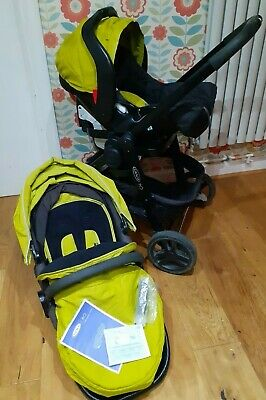 Graco Evo Travel System, Lime Green (pushchair/pram/stroller + Car Seat + Frame) • 75£