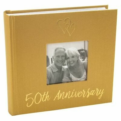 £17.50 • Buy Lovely Golden 50th Wedding Anniversary Photo Album With Double Heart Decorati...