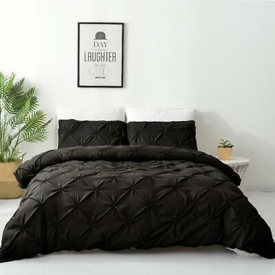 AU29 • Buy Single/Double/Queen/King Diamond Embroidery Pintuck Quilt/Duvet Cover Set-Black