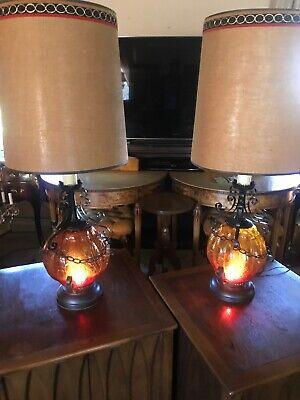 $195 • Buy Vintage Black Wrought Iron Table Lamps Spanish Gothic Crackle Glass Red Gold