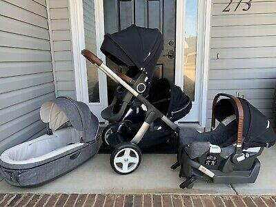$750 • Buy Stokke Crusi Double Single Stroller With Nuna Pipa Carseat & Bassinet Excellent