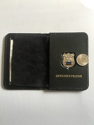 Police Officer Thin Blue Line Mini PIN  Leather ID Wallet -  (Friend) 1 Inch  • 17.19£