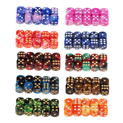 AU35.74 • Buy 100 Pieces Assorted Six Sided 16mm D6 Resin Table Game Dice Set With Pips