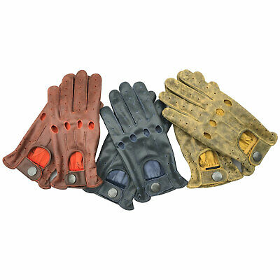 New Unlined Cow Crunch Leather STyle Mens Driving Fashion Slim Fit Gloves 507 • 12.99£