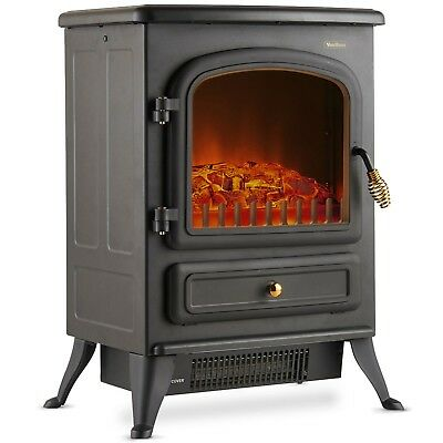 VonHaus 1850W Portable Electric Stove Heater Log Burning Effect Fireplace • 79.99£