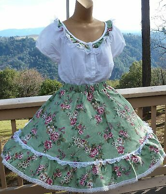 $28.50 • Buy Square Dance 2pc Outfit Rose Print Skirt & Blouse XL  Bust 46   W30 -46  22 L