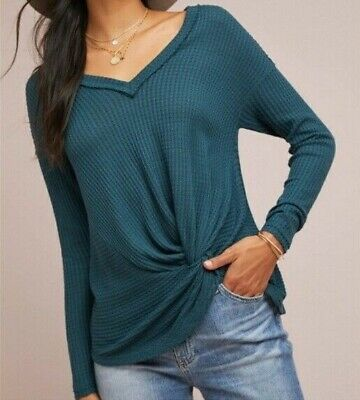 $ CDN36.73 • Buy Akemi + Kin Anthropologie Size XS Top Teal Knotted Front Waffle Knit Long Sleeve