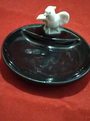 Vintage Wade Whimtrays Black Tray With A Cockatoo Bird • 12£