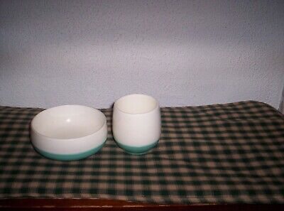 $8.95 • Buy Mid Centry Vacron  Bopp -Decker  Cereal Bowl & Cup Turquoise & White Rare Find