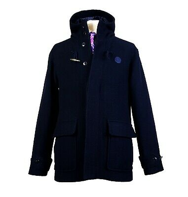 $96.28 • Buy Fred Perry Sz M Wool Duffle Coat Navy Blue Hood Horn Toggle