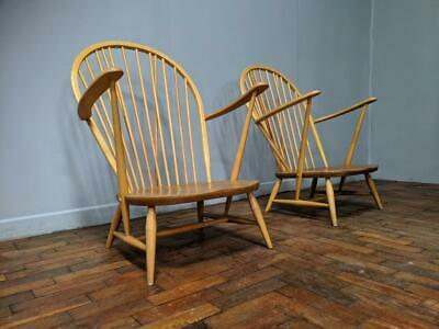 2 Ercol 305 Windsor Tub Chair Armchairs 1955 Danish Mid Century Great Condition • 549£