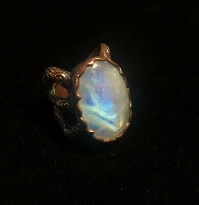 $180 • Buy Pitango Jewelry Handcrafted Carved Moonstone Spiderwoman Ring 7