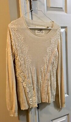 $ CDN19 • Buy Anthropologie Angel Of The North Ivory Lace Long Sleeve Sweater Sz S Never Worn