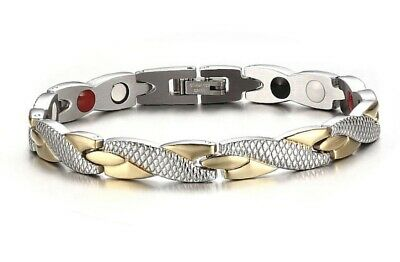 Ladies Magnetic Bracelet For Healing Energy Pain Relief Gold Silver Or Black • 10£