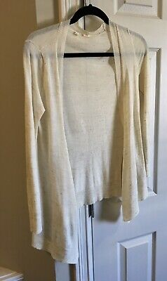 $ CDN29.80 • Buy Anthropologie Ivory Long Sleeve Cardigan Side Button Sweater Sz S