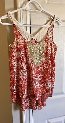 $ CDN23 • Buy Anthropologie TINY Red Print Gold Sequin Tank Top XS EUC