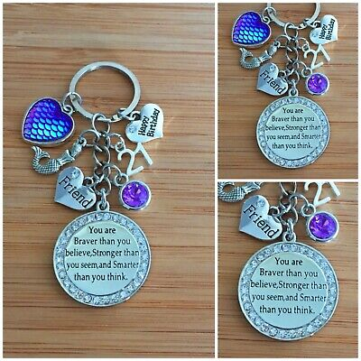 Personalised HAPPY BIRTHDAY Gifts Charm Keyring Mummy Mum Daughter Gift For Her. • 4.99£