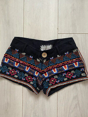 £13.99 • Buy Black Embroidered Beaded Shorts River Island 6 Towie Club Festival Summer Boho