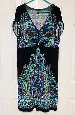 $18.74 • Buy Soho Apparel Dress Stretch Drop Waist Bohemian Chic Aqua Purple Paisley 16 XL