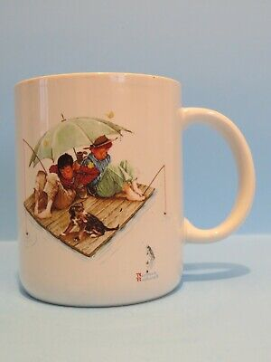 $ CDN8 • Buy Vintage Norman Rockwell Tea Coffee Cup Mug  Fisherman's Paradise , 4  Tall