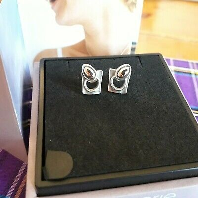 Ola Gorie Silver 9ct Yellow Gold Flow Earrings Mixed Metal Scottish • 75£