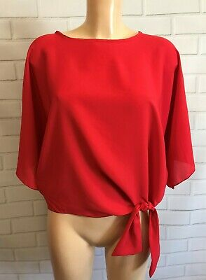 Red Batwing 3/4 Sleeves Tie Front Oversized Top Blouse Size S - XL • 5£