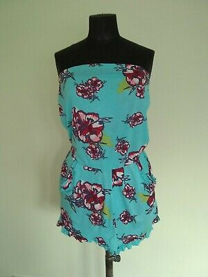 River Island Turquoise & Floral Bandeau Top Beach Playsuit Pull On Style • 8.99£