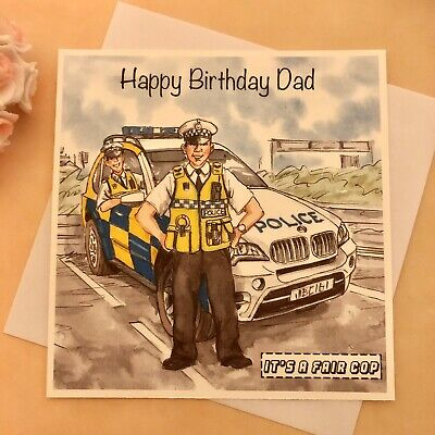£3.50 • Buy Handmade Personalised Police Policeman Car Birthday Thank You Card