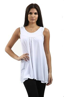 £6.99 • Buy Ladies Cami Vest Front Rouched Sleeveless All Colours And Sizes Plus Sizes