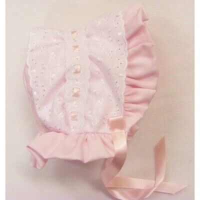 Baby Girls Kinder Romany Sun Hat Broderie Anglaise & Slotted Ribbon Poke Bonnet • 6£