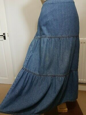 Ladies Denim Skirt Dash Size 16 Tiered Vintage Hippy Festival Holiday Western • 12.99£